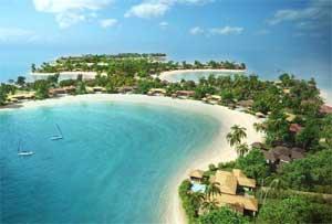 Un croquis des futures villas de luxe de Coral Island