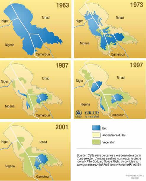 Entre 1910 et  2009, le lac Tchad a perdu près de 80% de sa superficie.