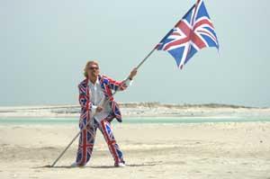 Richard Branson sur l'une des îles de The World